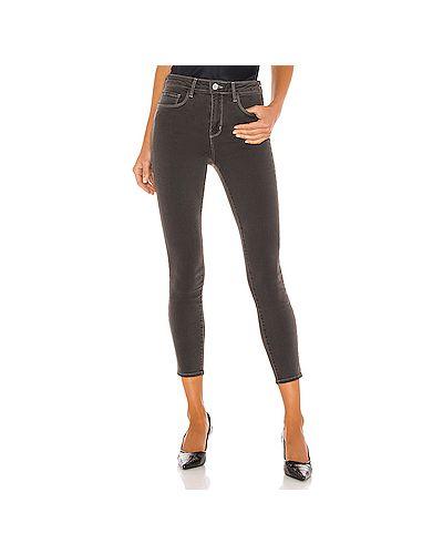 Хлопковые черные джинсы-скинни скинни L'agence