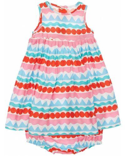 Хлопковое платье в полоску на резинке Stella Mccartney Kids