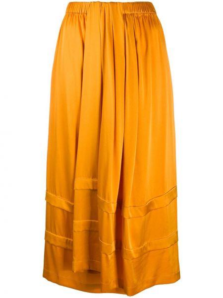 Оранжевая шелковая юбка с драпировкой Christian Wijnants