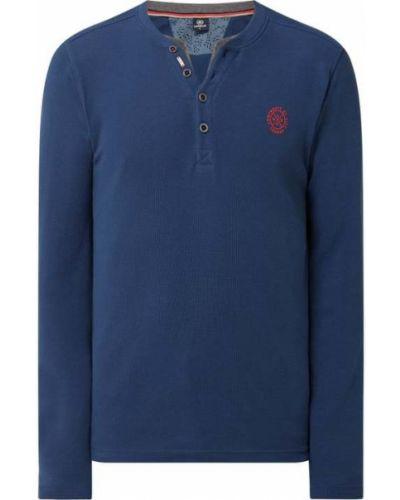 Niebieski t-shirt z długimi rękawami bawełniany Lerros