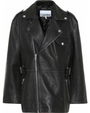 Кожаная куртка черная байкерская Ganni