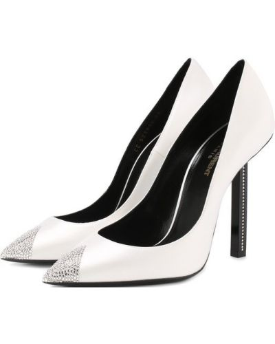 Кожаные туфли со стразами на каблуке Saint Laurent