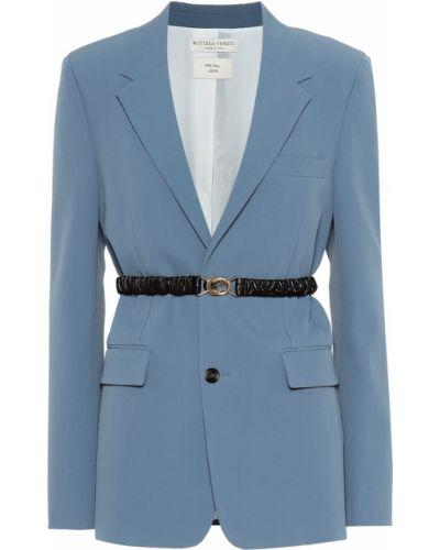 Синий пиджак из габардина Bottega Veneta