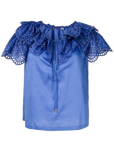 Блузка с оборками с воротником свободного кроя с вырезом Reinaldo Lourenço
