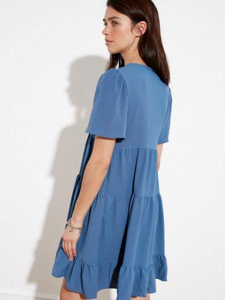 Синее платье мини с вырезом с короткими рукавами Trendyol