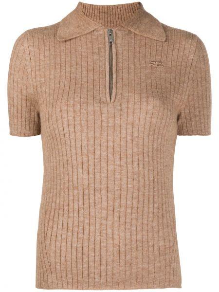 Бежевая рубашка с коротким рукавом с воротником с заплатками из альпаки Courrèges