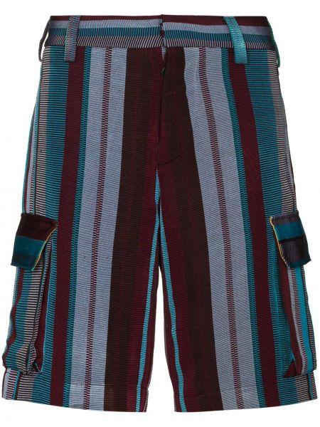 Niebieski bawełna szorty cargo z kieszeniami w połowie kolana Kenneth Ize