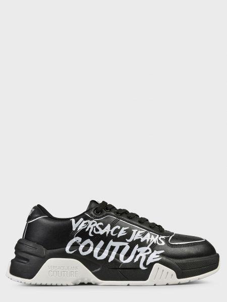 Кожаные кроссовки - черные Versace Jeans Couture