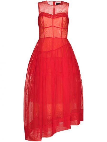 Красное вечернее платье из фатина на молнии без рукавов Simone Rocha