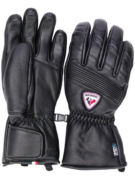 Czarne rękawiczki skorzane z haftem Rossignol