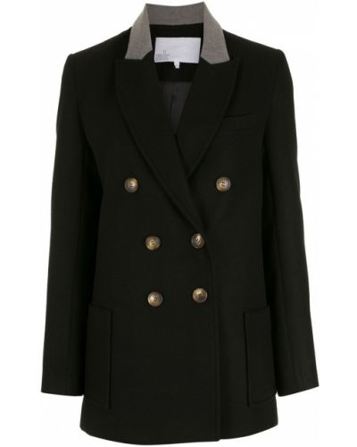 Черный классический пиджак двубортный с воротником Nk