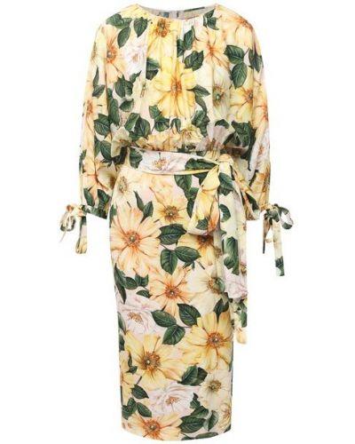 Шелковое платье - желтое Dolce & Gabbana