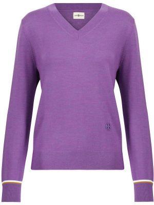Фиолетовый шерстяной свитер Tory Sport