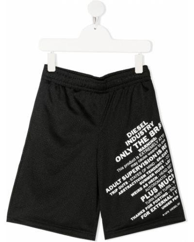 Черные шорты с карманами с сеткой Diesel Kids