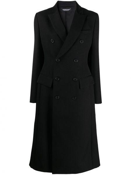 Шерстяное черное длинное пальто двубортное Undercover