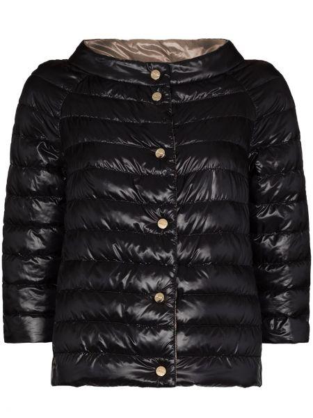 С рукавами черная дутая куртка с перьями Herno