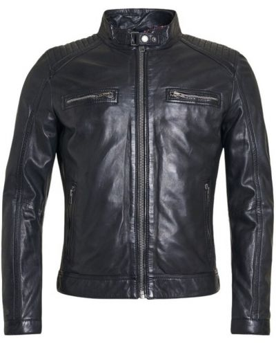 Czarna kurtka skórzana z długimi rękawami Rockandblue
