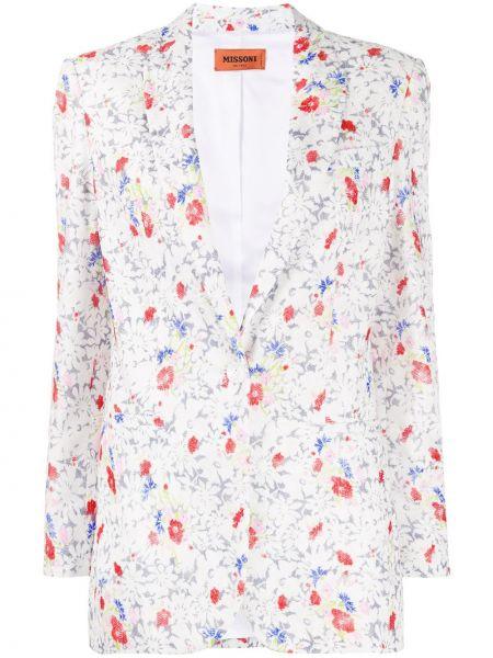 Однобортный белый удлиненный пиджак с длинными рукавами Missoni