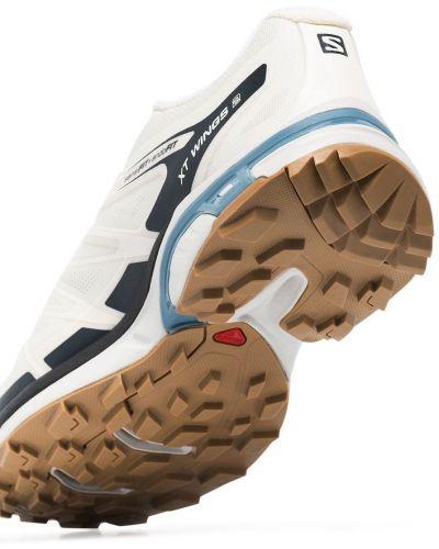 Белые кроссовки с нашивками сетчатые Salomon S/lab