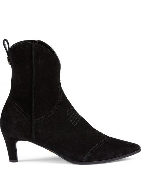 Zamsz czarny buty na pięcie z ostrym nosem niskie obcasy Gucci