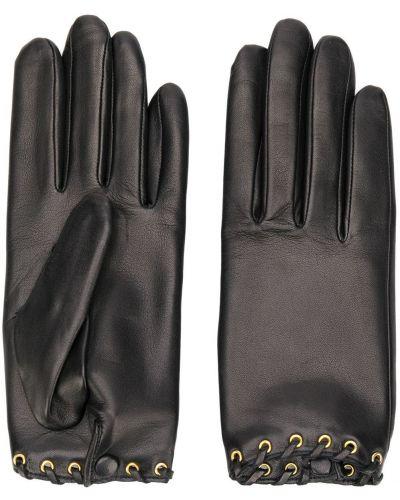 Черные перчатки на пуговицах Agnelle