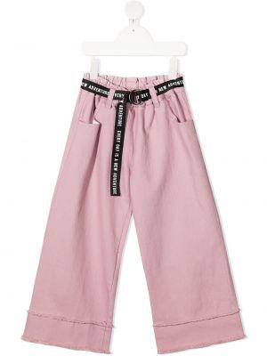 Розовые с завышенной талией брюки с поясом Andorine