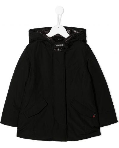 Классическое пуховое черное длинное пальто с перьями Woolrich Kids