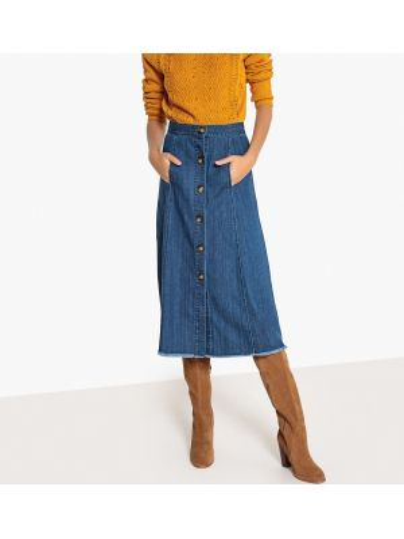 Юбка миди джинсовая макси La Redoute Collections