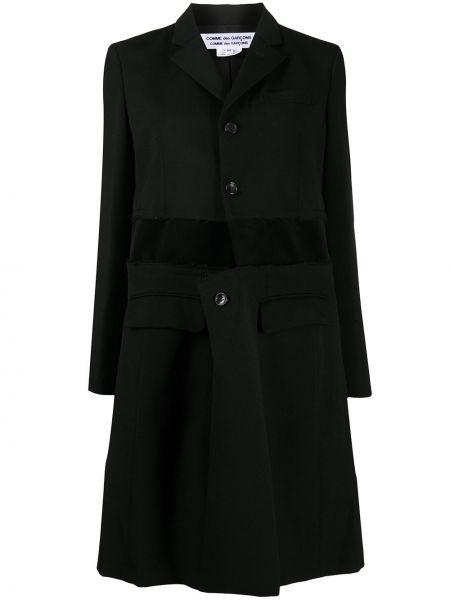 Однобортное шерстяное черное пальто Comme Des Garçons Comme Des Garçons