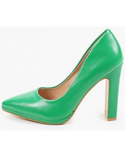 Зеленые кожаные туфли закрытые Vera Blum