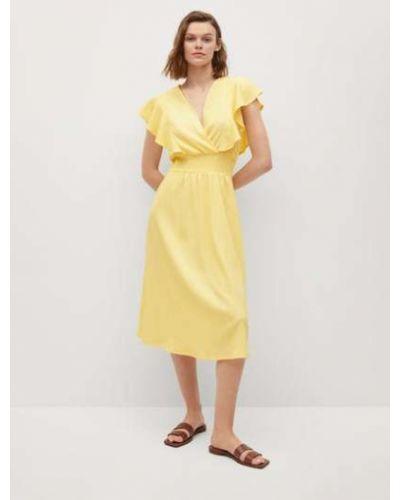 Расклешенное желтое платье мини с короткими рукавами Mango