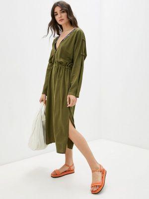 Прямое зеленое платье А-силуэта Be Main