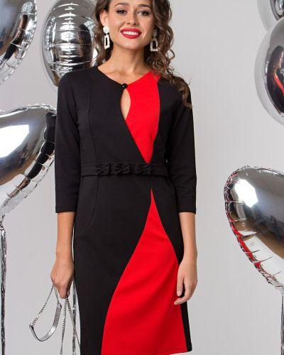 С рукавами трикотажное красное платье Lady Taiga