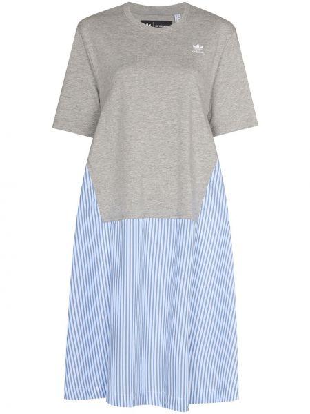 Хлопковое синее платье-рубашка Adidas