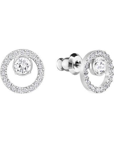 Серьги-гвоздики круглые металлические Swarovski