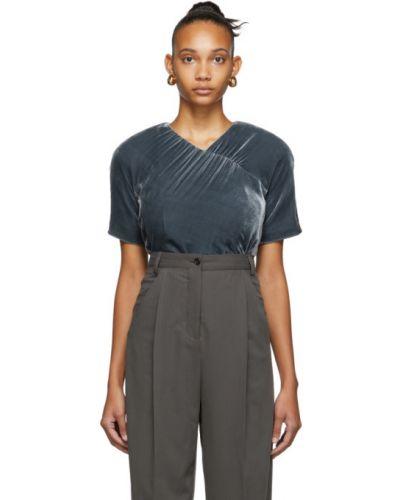 Бархатная блузка с коротким рукавом с оборками с воротником с V-образным вырезом Situationist