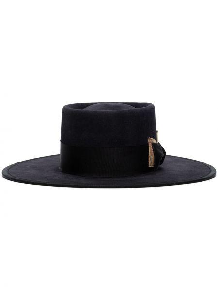 Черная шляпа с широкими полями свободного кроя с кисточками Nick Fouquet