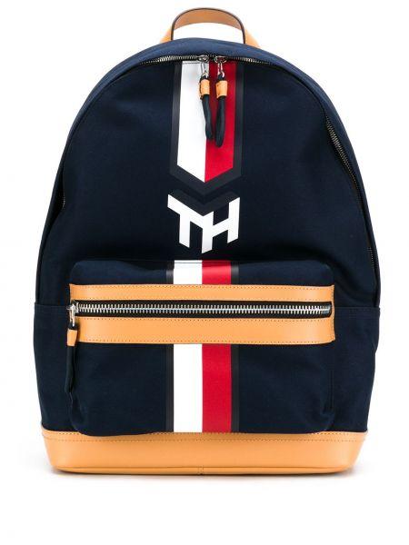 Кожаный синий рюкзак на бретелях с карманами Tommy Hilfiger