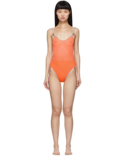 Оранжевый купальник с сеткой с открытой спиной Heron Preston
