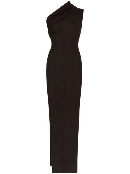 Wełniany czarny długo sukienka z falbankami na jednym ramieniu Rick Owens