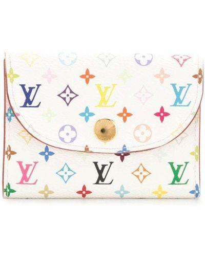 Золотистая белая кожаная визитница Louis Vuitton