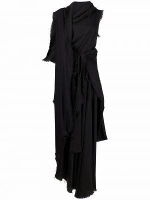Льняное платье макси - черное Yohji Yamamoto