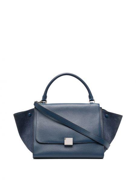 Кожаная синяя сумка-тоут на молнии с карманами Céline Pre-owned