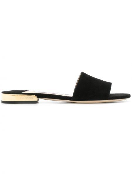 Skórzany czarny sandały okrągły otwarty palec u nogi Jimmy Choo
