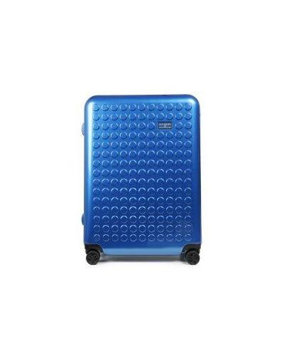 Компрессионный синий чемодан на молнии эластичный Dot-drops