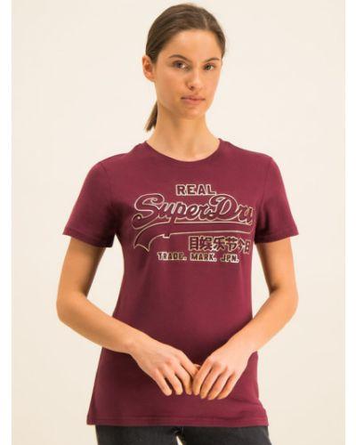 T-shirt - bordowa Superdry