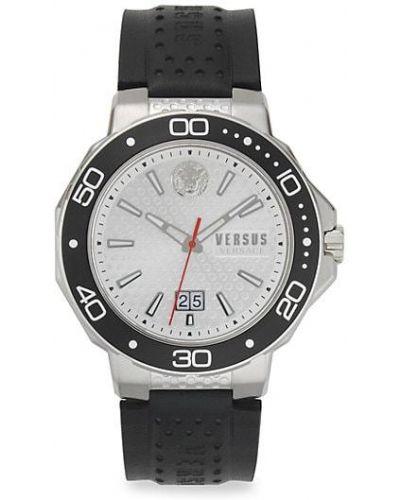 Кожаные серебряные часы на кожаном ремешке круглые Versus Versace