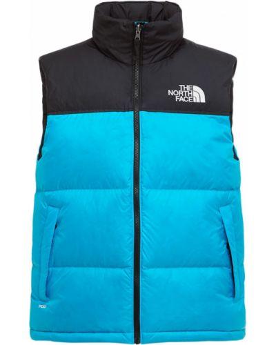 Синяя пуховая жилетка с капюшоном The North Face