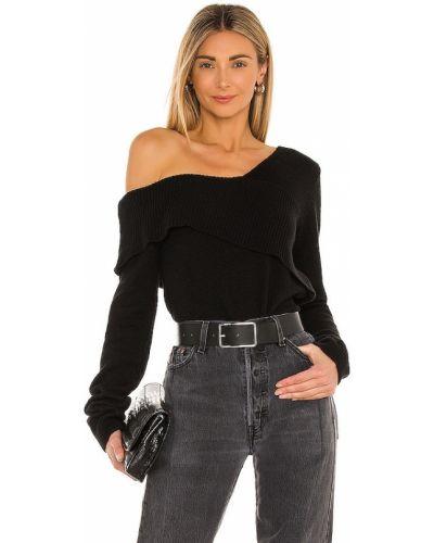 Кашемировый черный свитер на одно плечо 525