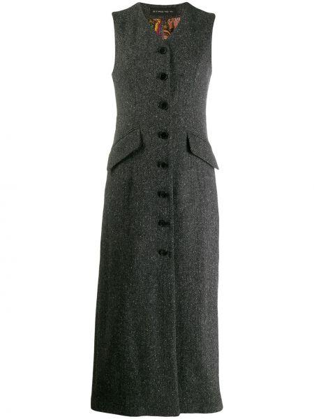 Серое платье миди без рукавов на пуговицах Etro